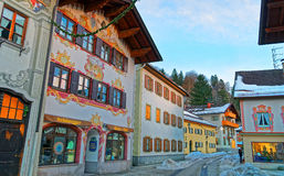 Cozy street with lovingly painted facades of the houses royalty free stock images