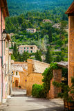 Cozy street of the mountain village Deia Royalty Free Stock Image