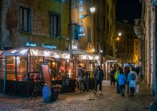 A cozy street near Campo de Fiori in Rome, Italy. stock photos