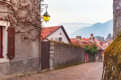 Cozy street in Old Town of Annecy, France Royalty Free Stock Photos