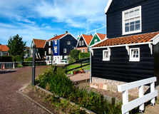 Cozy streets of Marken, an old idyllic village in the North of Holland Stock Photography