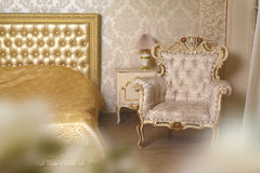 Cozy stylish vintage corner of the ivory bedroom Royalty Free Stock Images