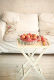Cozy stylish vintage corner of the pink bedroom with floor vase Stock Images