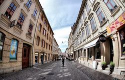 Cozy Swedish street at Haga district Stock Photo