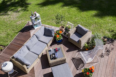 Cozy terrace from the bird view stock photography