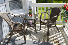 Cozy terrace of country house stock image