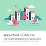 River side settlement, cozy town, row of houses by the river with trees, residential building, green neighborhood. Cozy town, row of houses by the river with stock illustration