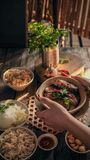 Cozy Vietnamese traditional homemade meal stock photography