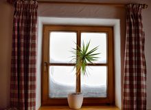 Cozy view from the window of the Alpine Chalet on a snowy winter day. View from the inside. Window with plaid curtains and a flower royalty free stock image
