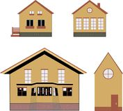 Cozy village houses. Cozy village brown houses, vector illustration of several cozy rustic houses on white background, parts, style Royalty Free Stock Image