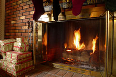 Cozy Warm Fireplace fire Royalty Free Stock Image