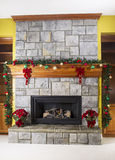 Cozy warm fireplace for the holidays Royalty Free Stock Photo