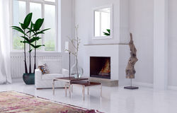 Cozy white living room interior with fireplace. Cozy minimalist white living room interior with fireplace, overmantel mirror and single armchair and potted plant Stock Images