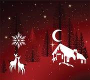 Cozy Winter Cabin. Stylized winter cabin in pine trees - deer look on royalty free illustration