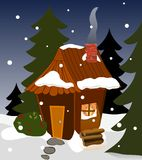 Cozy Winter Cabin. A cabin in winter, evergreens, light from a window, chimney and smoke, snowing vector illustration