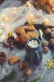 Cozy winter and Christmas setting with hot cocoa with marshmallows and homemade cookies Stock Photos