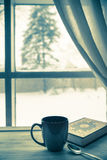 Cozy Winter Coffee and Book Royalty Free Stock Images