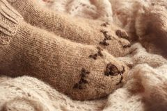 Cozy Winter fall autumn lifestyle: woman feets legs in warm cute bear socks. Retro toning, beige monochrome, hipster still life royalty free stock photography
