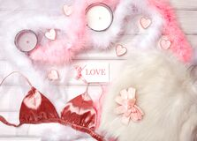 Free Cozy Winter Flatlay With Heart Candles, Gifts And Warm Knitted Plaid. Pink Still Life For St. Valentines Day, Womans Day Stock Photo - 169435590
