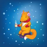 Cozy winter fox Stock Photo
