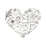 Cozy winter hand drawn elements. In a form of heart Stock Photos
