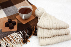 Cozy winter home background, cup of hot cocoa Stock Photo