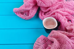 Cozy winter home background, cup of hot cocoa with marshmallow Stock Photos