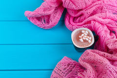 Cozy winter home background, cup of hot cocoa with marshmallow Stock Photography