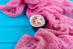 Cozy winter home background, cup of hot cocoa with marshmallow Stock Image