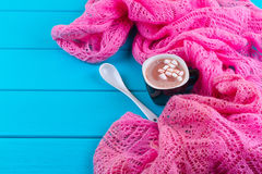 Cozy winter home background, cup of hot cocoa with marshmallow Royalty Free Stock Photo