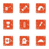 Cozy winter icons set, grunge style. Cozy winter icons set. Grunge set of 9 cozy winter vector icons for web isolated on white background Royalty Free Stock Image