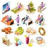 Cozy Winter Isometric Icons royalty free illustration