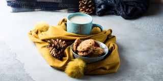 Cozy winter relax with tea and cookies. Banner Royalty Free Stock Photo
