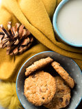 Cozy winter relax with tea and cookies. Vertical Stock Photo