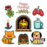 Cozy winter set, happy holiday illustration collection. This is a winter icon collection featuring cozy, cute, and fun, winter, holiday season items. This vector Stock Images