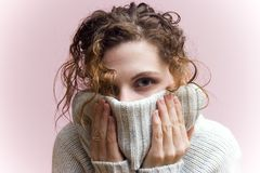 Cozy winter sweater. Cozied up Stock Photo