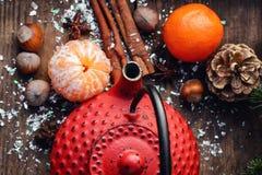 Cozy winter tea party Stock Photos