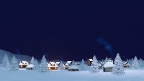 Cozy winter township under night sky. Calm rural winter landscape with cozy township covered with snow and snowy firs under clear starry night sky. 3D Royalty Free Stock Photo