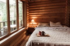 Cozy winter weekend in log cabin royalty free stock photography