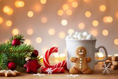 Free Cozy Wintertime Scene. Gingerbread Man, Cup Of Hot Cocoa With Marshmallow And Christmas Fir Branch Stock Photography - 161760072