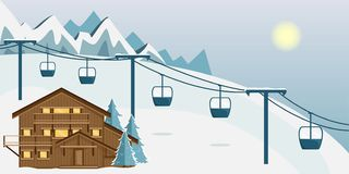 Cozy wooden Chalet in the mountains. Mountain landscape. Flat style. Ski resort vector illustration