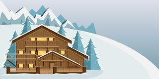 Cozy wooden Chalet in the mountains. Mountain landscape. Flat style. Ski resort royalty free illustration