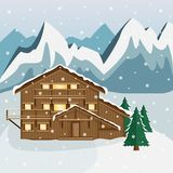Cozy wooden Chalet in the mountains. Mountain landscape. Flat style. Ski resort. Snowfall vector illustration