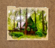 A cozy wooden house hid in thickets among tall, slender pines an. D bushes on the old paper background in the passepartout Stock Image