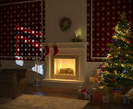 Cozy xmas fireplace with tree. Cozy decorated christmas fireplace at night with tree, presents and santa claus silhouette on the wall Stock Photo