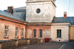 Cozy yard in old Lvov city with ancient architecture Stock Photos