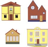 Houses, house, Villa, icon, clip. Cozy yellow and brown houses, mansion, Villa Royalty Free Stock Photography