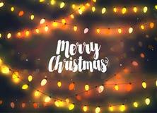 Cozy yellow Christmas lights garlands, greeting card Royalty Free Stock Photos