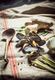 Cozze con gli ingredienti freschi per la cena dei frutti di mare Immagine Stock Libera da Diritti