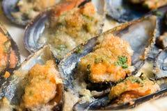 Cozze di Gratinated, alimento Mediterraneo Immagini Stock Libere da Diritti